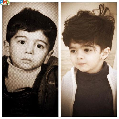 عکس سمت راست آروین پسر مجید صالحی و عکس سمت چپ کودکی مجید صالحی