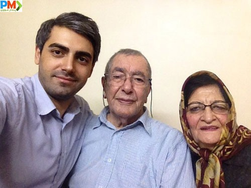 محمدرضا رهبری به همراه مادربزرگ و پدربزرگش