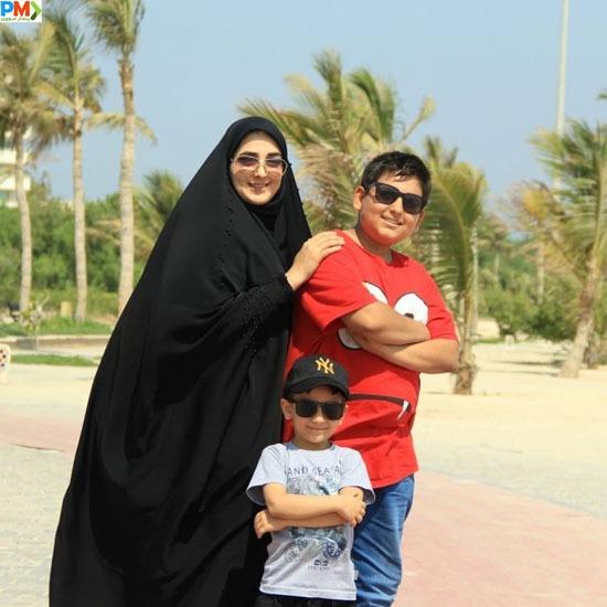 همسر شهرام شکیبا به همراه پسرانش